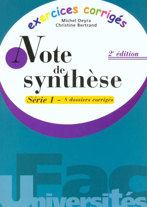 Exercices Corriges Note De Synthese 1 Michel Deyra Gualino Grand Format La Maison Jaune Neuville Sur Saone