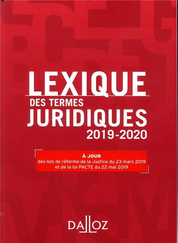 Lexique des termes juridiques (édition 2019/2020)