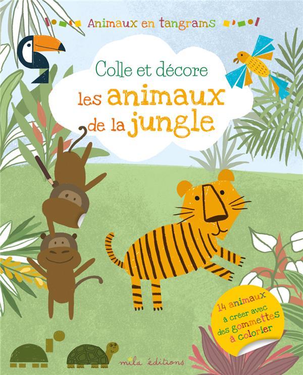 Animaux en tangrams ; colle et décore les animaux de la jungle