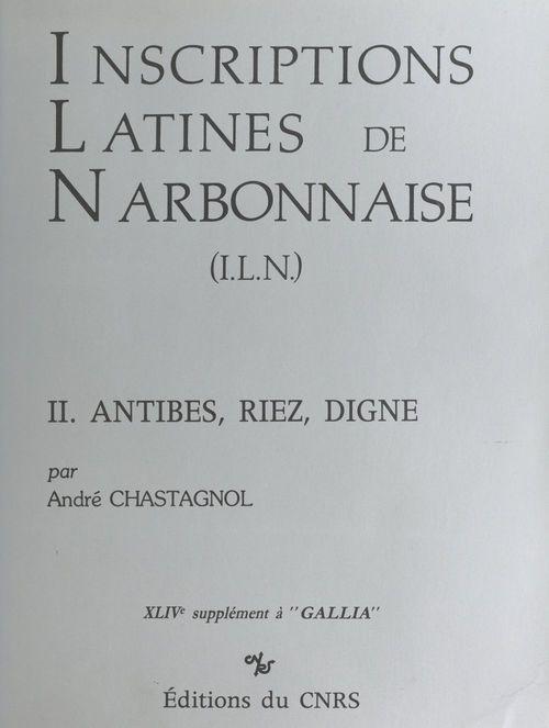 Inscriptions latines de narbonnaise ; antibes 1992