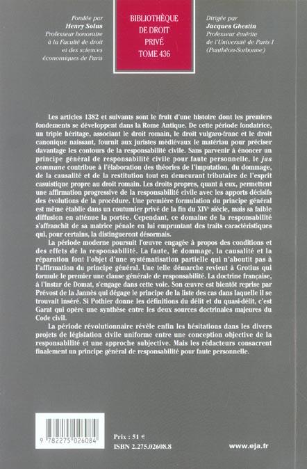 Origines de la responsabilite pour faute personnelle dans le code civil de 1804 (les)