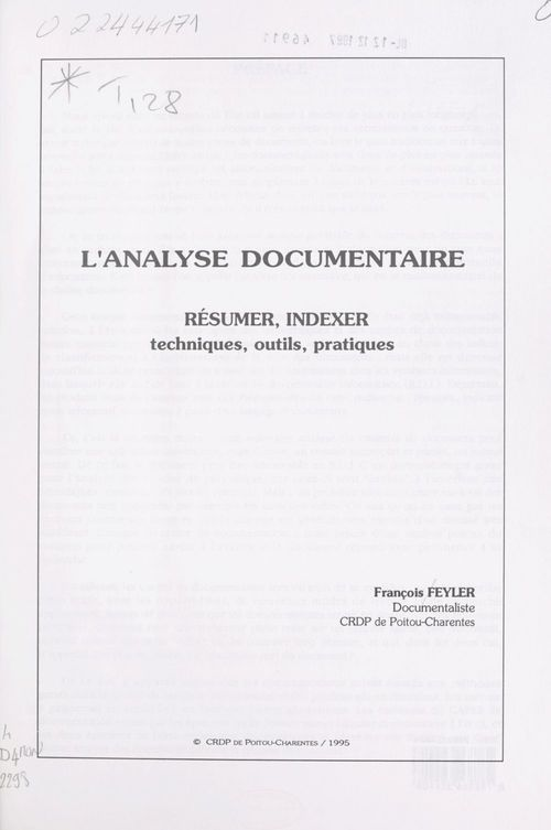 L'analyse documentaire