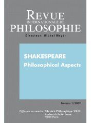 Revue internationale de philosophie t.247 ; shakespeare philosophical aspects (edition 2009)
