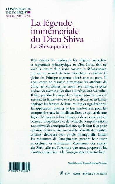 légende immémoriale du dieu Shiva ; le Shiva-purâna