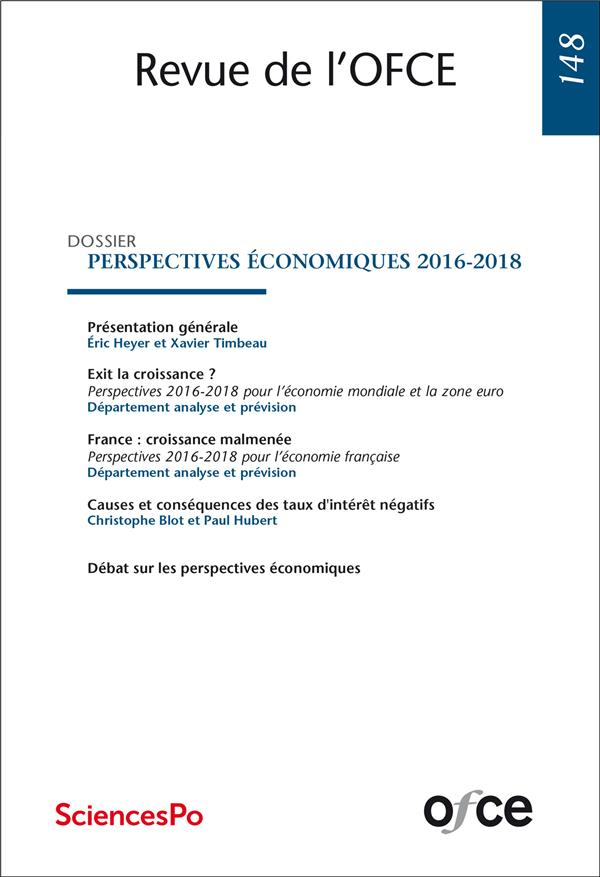 Ofce n.148 ; perspectives economiques 2016-2018