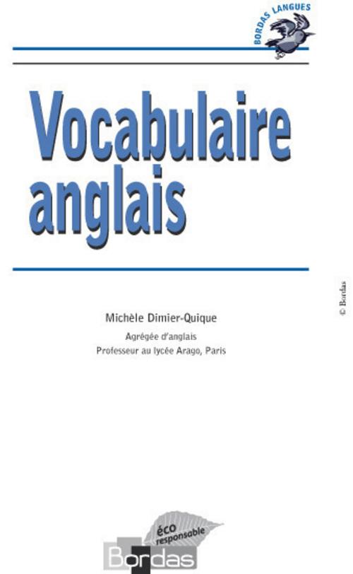 Bordas Langues - Vocabulaire anglais