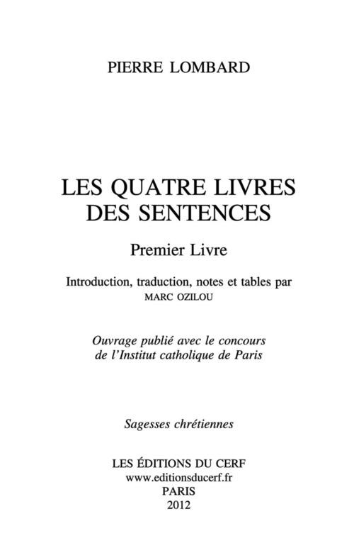 Les Quatre Livres des Sentences - Premier livre