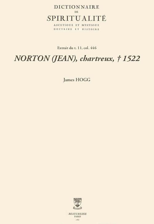 NORTON (JEAN), chartreux, + 1522