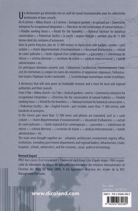 Dictionnaire bilingue des collectivités territoriales et de l'aménagement