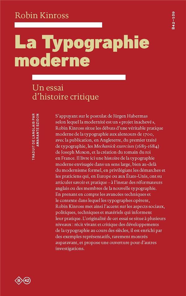 La typographie moderne ; un essai d'histoire critique
