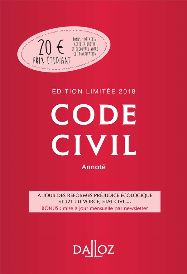 Code civil annoté (édition 2018)