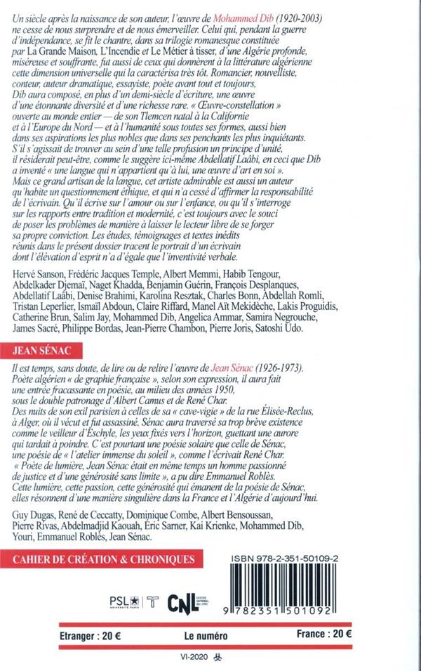Revue europe n.1094-95-96 ; juin-juillet-aout 2020 ; mohammed dib / jean senac
