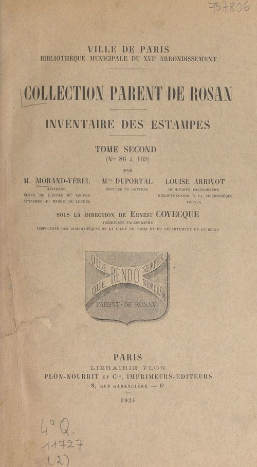Collection Parent de Rosan : inventaire des estampes (2)