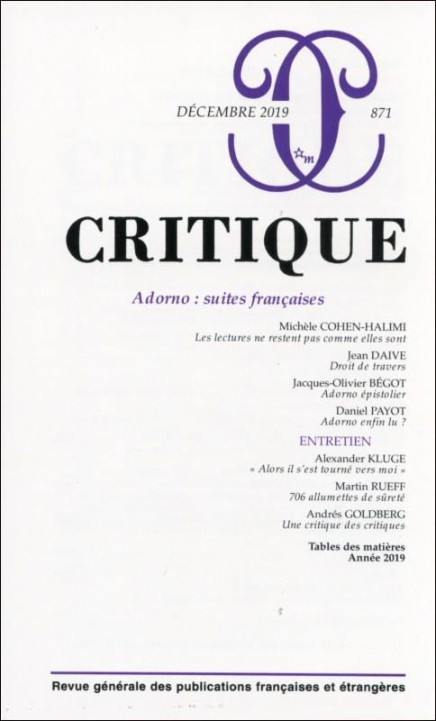 REVUE CRITIQUE N.871  -  DECEMBRE 2019  -  ADORNO : SUITES FRANCAISES