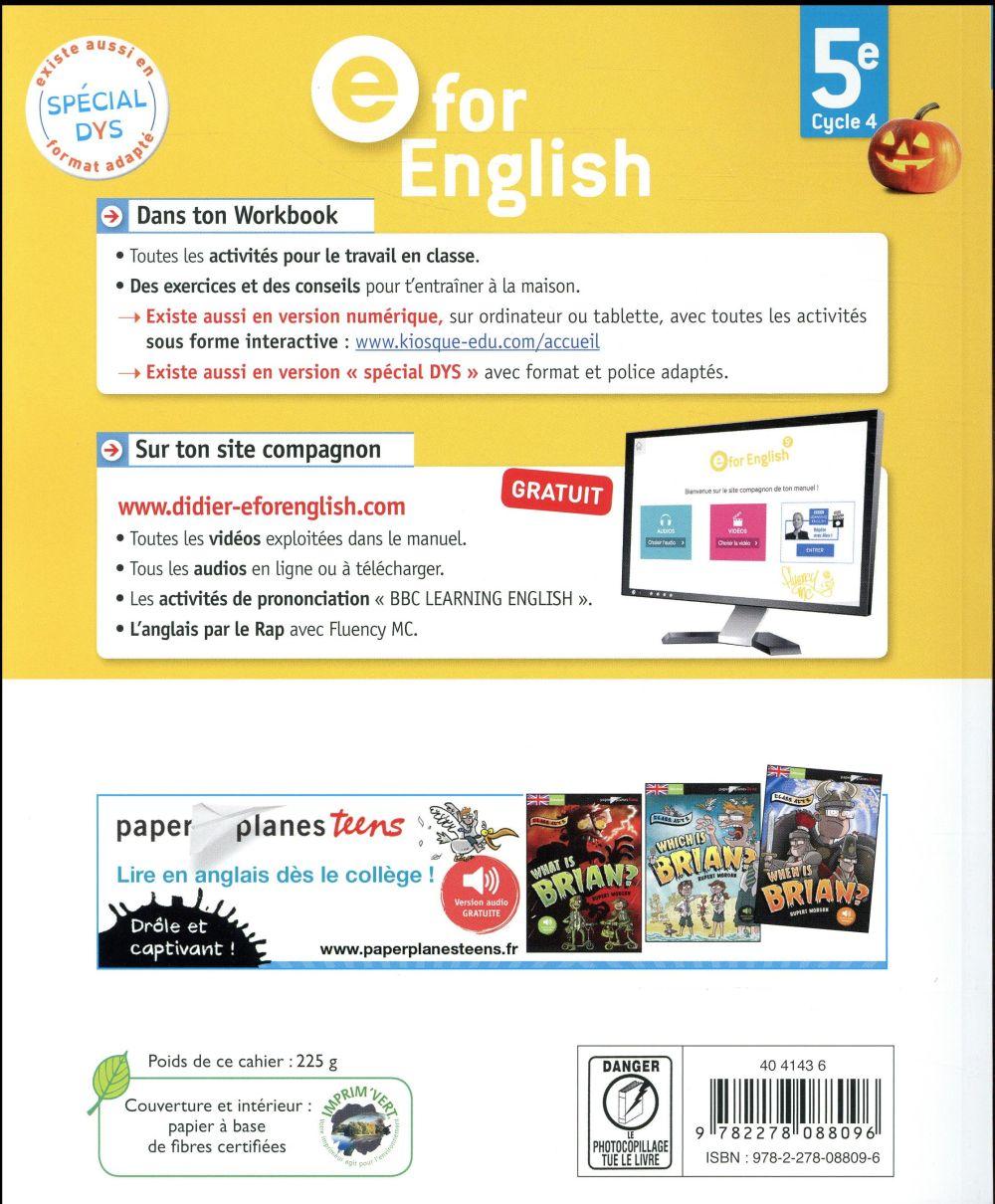 E for english ; anglais ; 5e ; workbook (édition 2017)