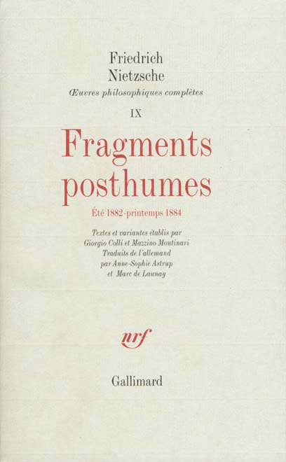 Fragments Posthumes (Ete 1882 Printemps 1884)
