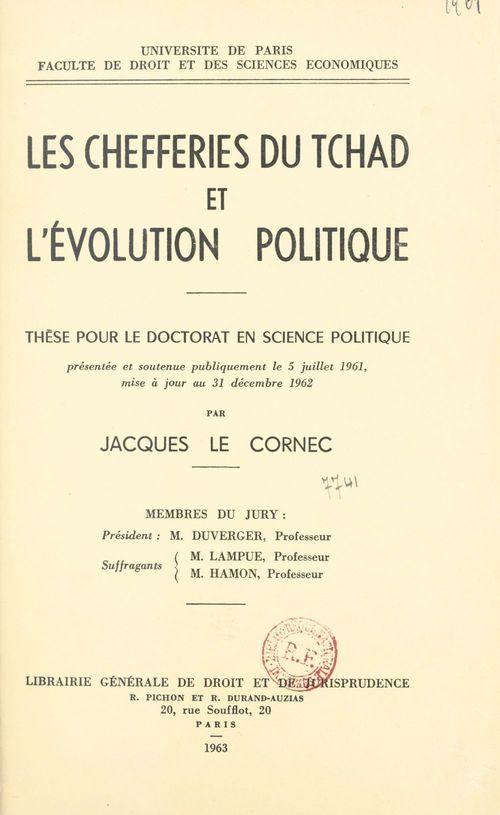 Les chefferies du Tchad et l'évolution politique
