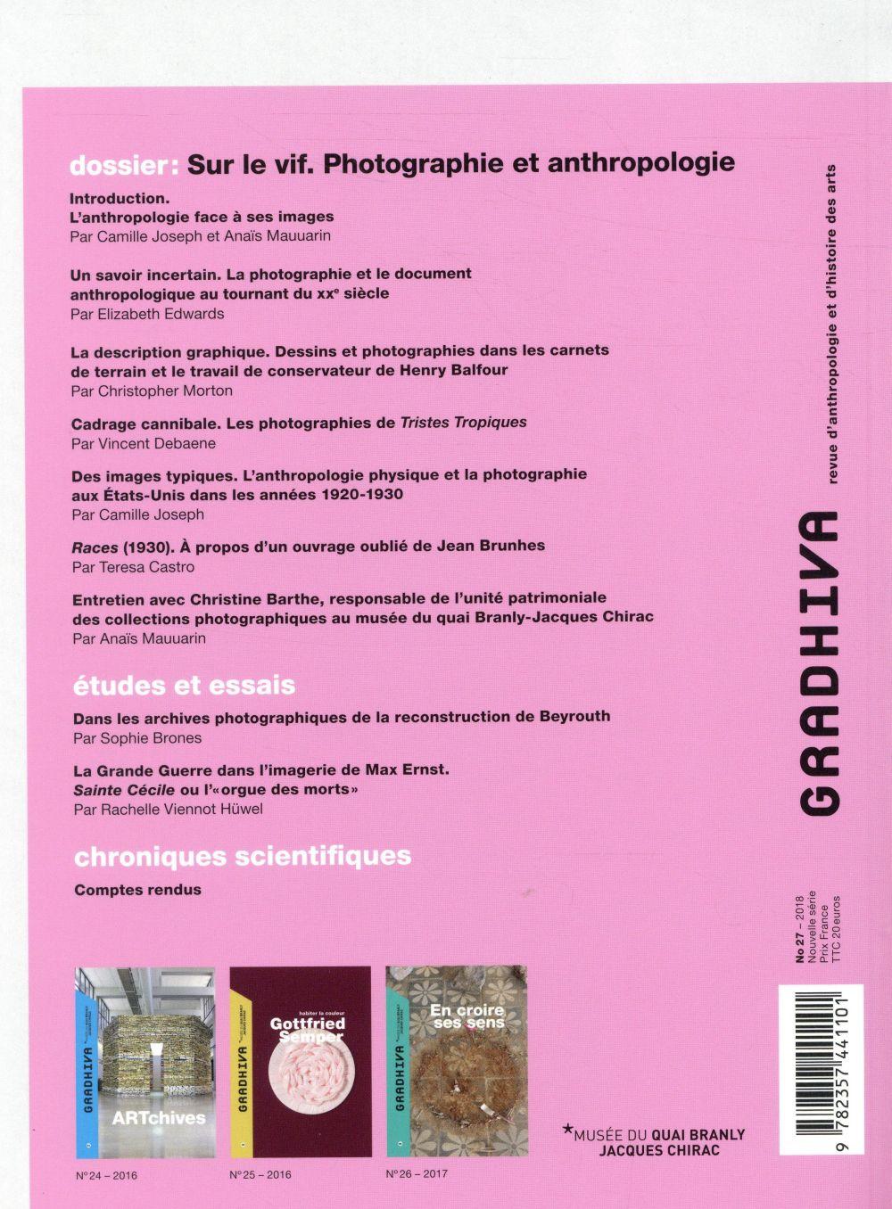 Gradhiva n.27 ; sur le vif ; photographie et anthropologie