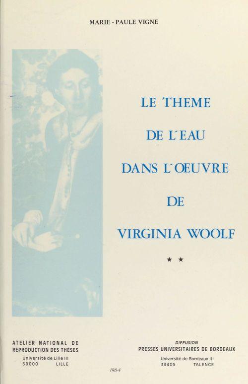 Le thème de l'eau dans l'oeuvre de Virginia Woolf (2)