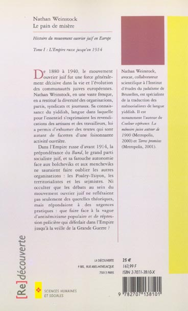 Le pain de misère ; histoire du mouvement juif ouvrier en Europe t.1 ; l'Empire russe jusqu'en 1914