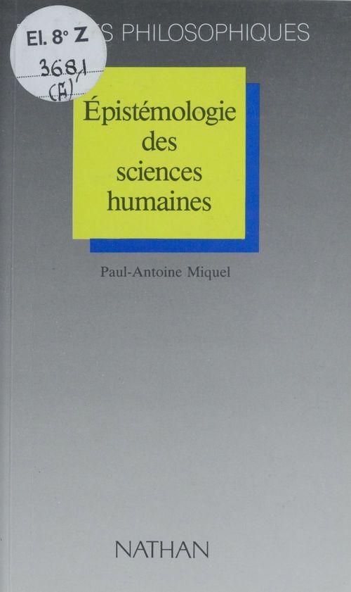 Epistemologie des sciences humaines