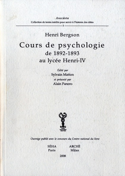 Cours de psychologie de 1892-1893 au lycée Henri IV