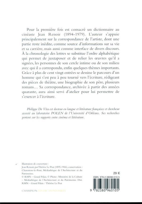 dictionnaire Jean Renoir ; du cinéaste à l'écrivain