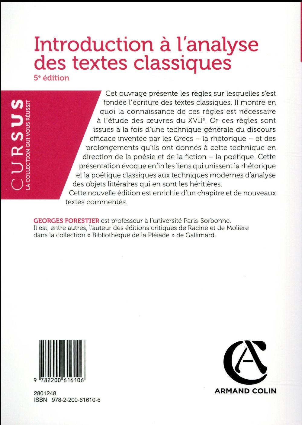 Introduction à l'analyse des textes classiques (5e édition)