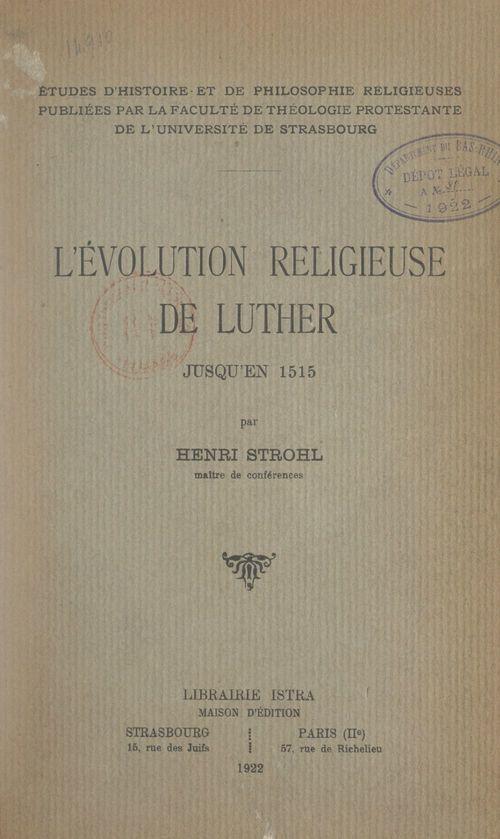 L'évolution religieuse de Luther jusqu'en 1515
