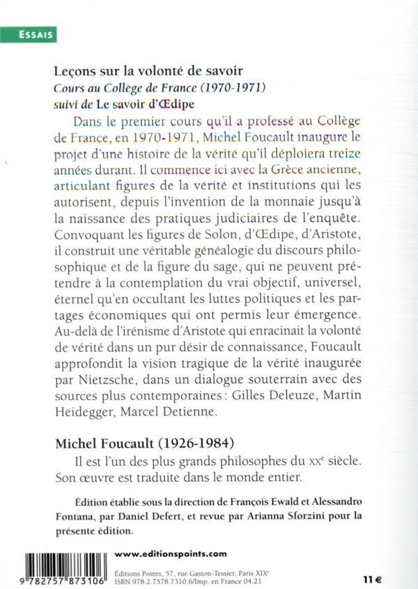Leçons sur la volonté de savoir : cours au Collège de France (1970-1971) ; le savoir d'Oedipe