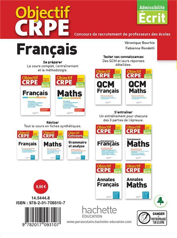 Objectif CRPE ; français ; tout le cours en plus de 40 fiches (édition 2021)