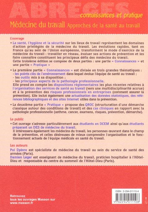medecine du travail - approches de la sante au travail (3e édition)