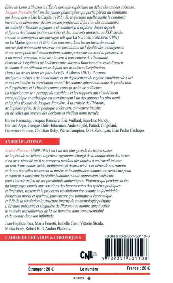Revue europe n.1097-1098 ; septembre-octobre 2020 ; jacques ranciere ; andrei platonov