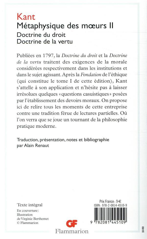 Métaphysique des moeurs t.2 ; doctrine du droit, doctrine de la vertu
