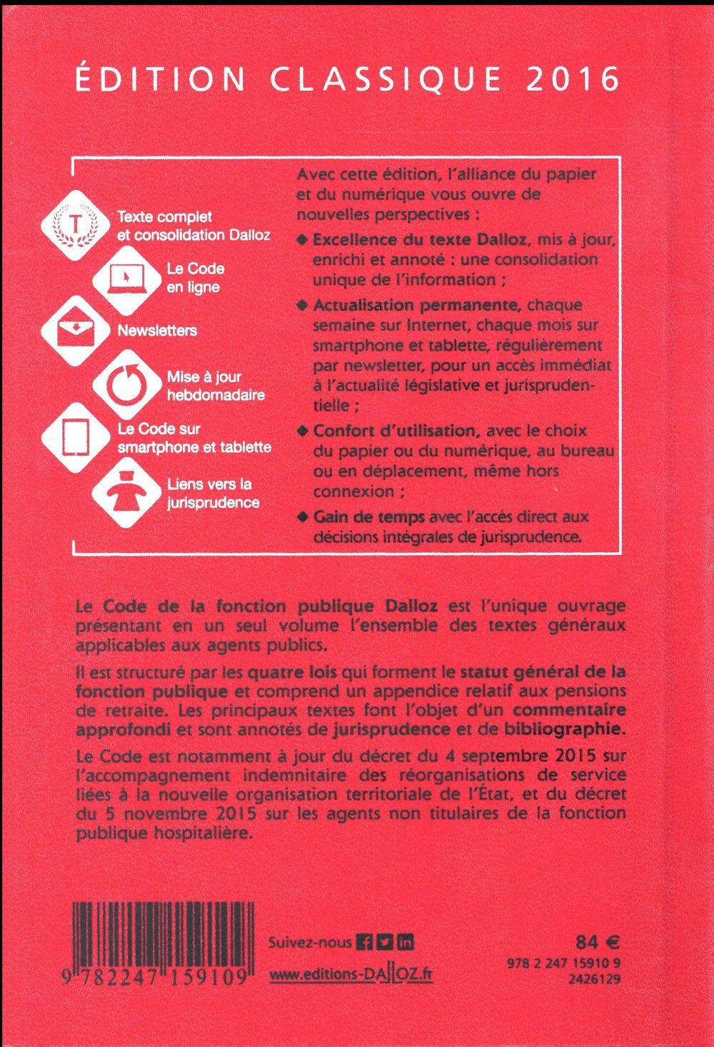 Code de la fonction publique, commenté (édition 2016)