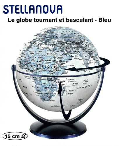 GLOBE 15 CM BLEU TOURNANT et BASCULANT