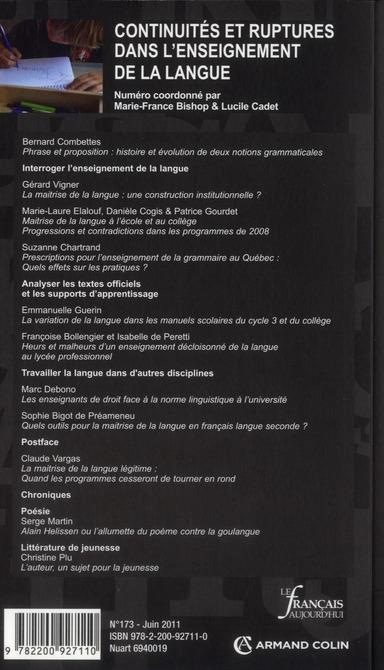 Revue le francais d'aujourd'hui t.173; continuites et ruptures dans l'enseignement de la langue