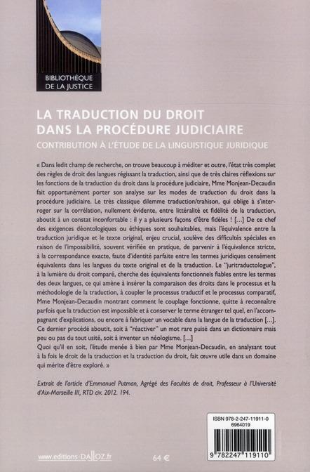 La traduction du droit dans la procédure judiciaire ; contribution à l'étude de la linguistique juridique