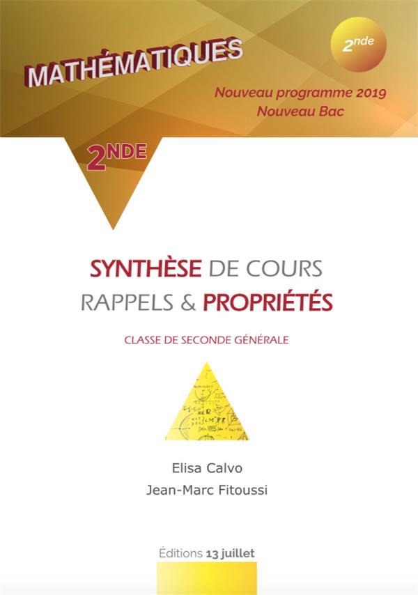 Résumé complet du cours de 2nde ; mathématiques ; 2nde ; classe de 2nde générale (édition 2019)