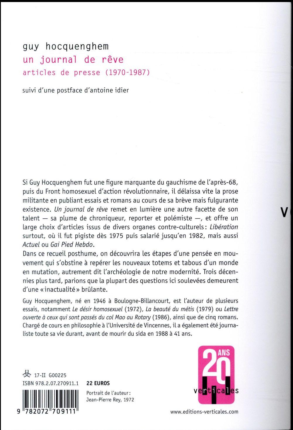 Un journal de rêve ; articles de presse (1970-1987)