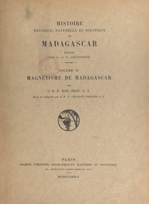 Histoire physique, naturelle et politique de Madagascar (4). Magnétisme de Madagascar