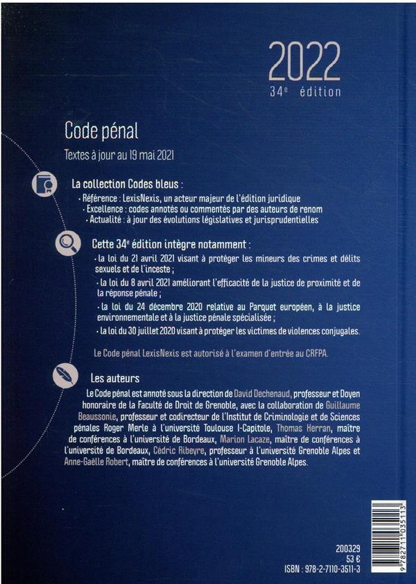 Code pénal : inclus : code de la justice pénale des mineurs (édition 2022)
