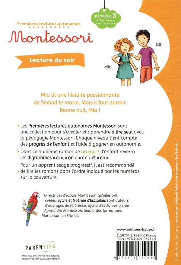 Premières lectures autonomes Montessori T.11 ; lecture du soir