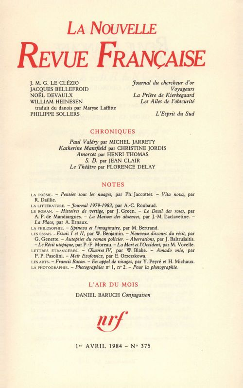 La Nouvelle Revue Française N° 375  - Collectifs  - La Nouvelle Revue Francaise