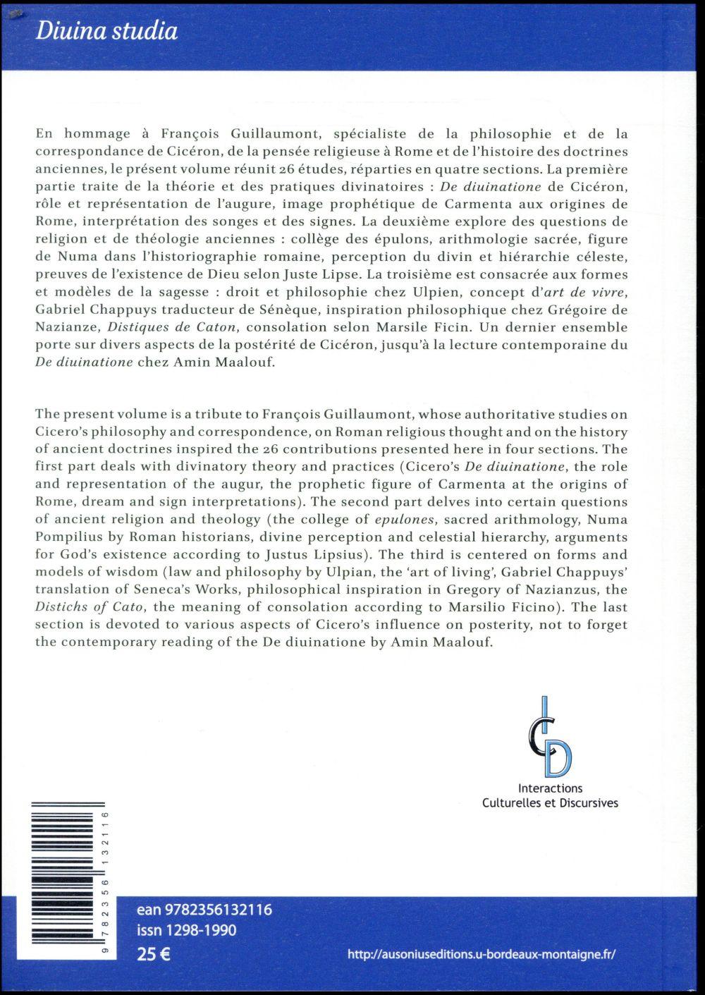 Divina studia. melanges de religion et de philosophie anciennes offerts a franco