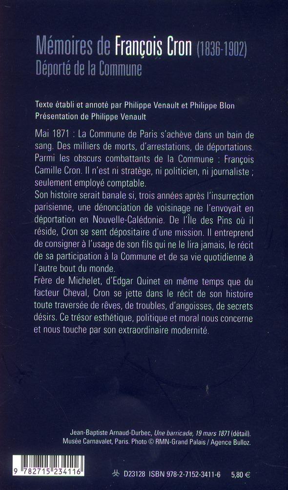 Mémoires de Francois Camille Cron (1836-1902), déporté de la Commune en Nouvelle-Calédonie
