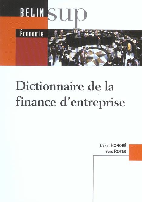Dictionnaire de la finance d'entreprise
