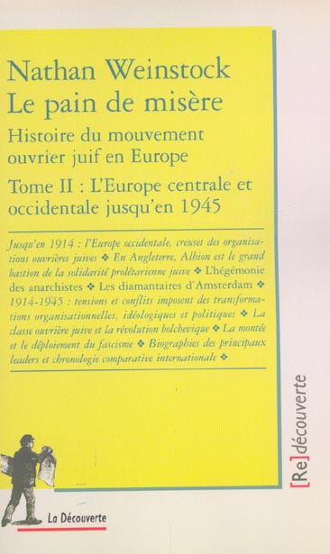 Le pain de misere - tome 2 histoire du mouvement ouvrier juif en europe - vol02