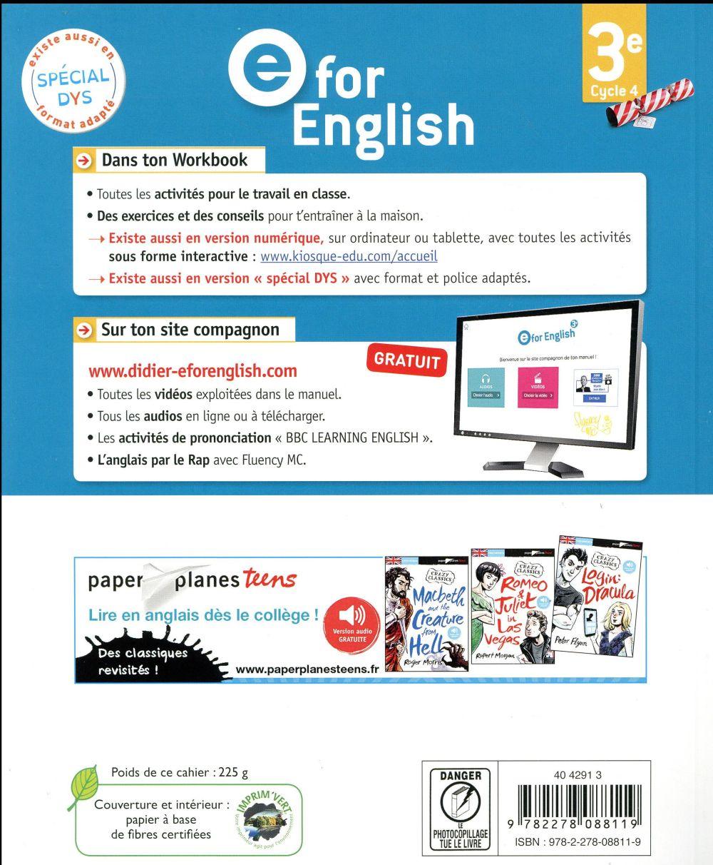 E for english ; anglais ; 3e ; workbook (édition 2017)