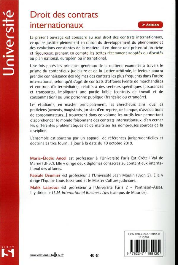 Droit des contrats internationaux (2e édition)